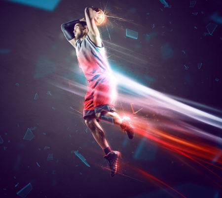 Giocatore in volo basket